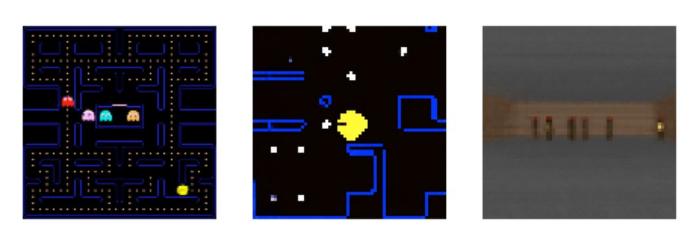 Some frames generated by GameGAN. In the third, some background elements were replaced