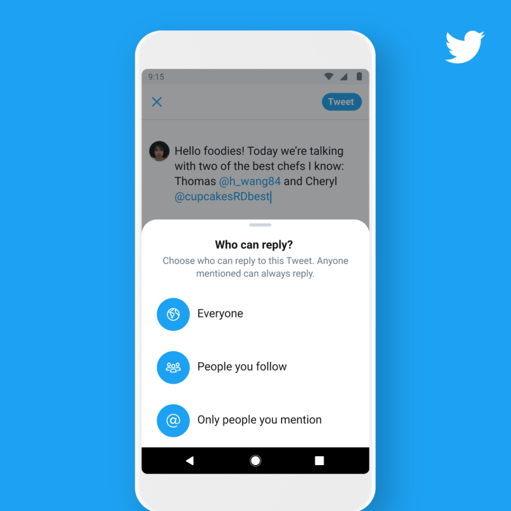 Twitter allows you to limit responses to tweets