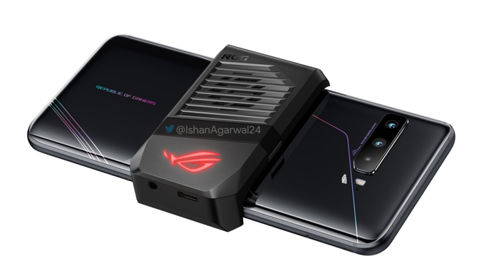 Asus ROG Phone 3's active air cooling system. Bulky but designed for gaming