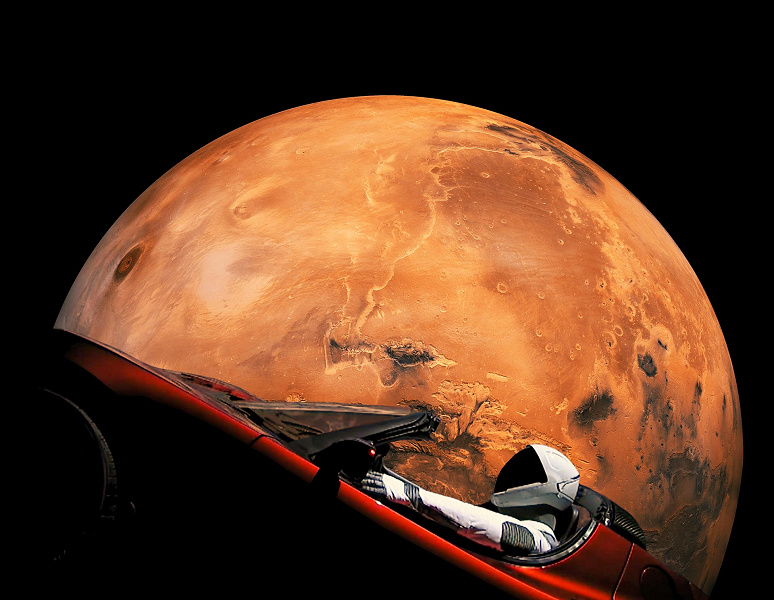 The first space car - Tesla Roadster with a Starman dummy ...